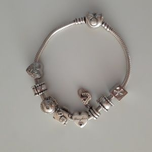Pandora Iconic Heart Clasp Bracelet and 6 charms